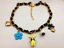 N854 Betsey Johnson Little Baby Yellow Monkey Flower Charm Heart Necklace US