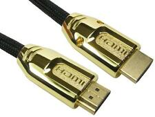 10 Metres Fast HDMI with Ethernet Cable Braided + Metal Gold Shielded Hood