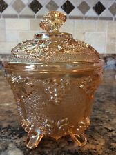 Indiana Carnival Glass Rose-Gold Toned Footed Candy Dish w/Grapes & Leaves