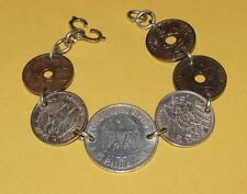 VTG~Trench Art WW I-II GERMAN French SILVER Coin BRACELET~5 Reichsmark Swastika