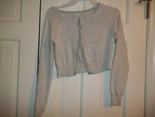AMERICAN EAGLE JUNIOR  SIZE S PETITE  TOP LONG SLEEVES BUTTON GRAY SHORT  SWEATE