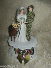 HUNTER REDNECK BUCK DEER BRIDE CAMO GROOM WEDDING CAKE TOPPER