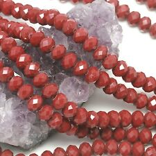 "16"" Str. 7-8mm Chinese Crystal Glass Beads Faceted Rondelle Red Agate"