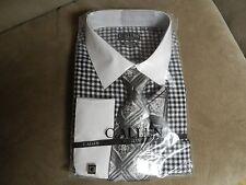 C.Allen Men's Dress Shirt Black Checkered, Matching Tie and Hanky & Cufflinks