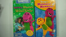 Barney Vhs Tape Lot Rhymes With Mother Goose Vtg 1993 & Numbers Numbers 2003