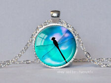 Vintage Dragonfly Cabochon Silver plated Glass Chain Pendant Necklace #48