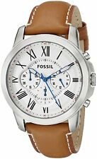 Fossil Men's FS5060 Grant Stainless Steel Watch with Brown Leather Band