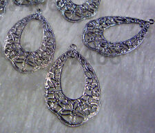 DIY Silver Filigree Lace Chandelier Earrings Hoops Loops Findings Teardrop 12pcs