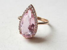 Turkish Hurrem Sultan Pink Zircon 925 Sterling Silver RING  DROP SHAPE SZ 8