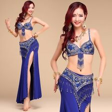 Deluxe Belly Dance Costume 2 pcs sets Bra Top with Hip Scarf Belt Chain Sequins
