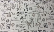 "BELLA-DURA CARTE POSTALE BLACK TAN FRENCH SCRIPT POSTAGE FABRIC BY THE YARD 54""W"