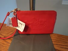 Authentic Coach 52500 Embossed Horse Carraige Wristlet Wallet Red NWT $65