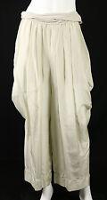 DONNA KARAN $695 NWT Sand White Habotai Silk & Jersey Harem Pants L