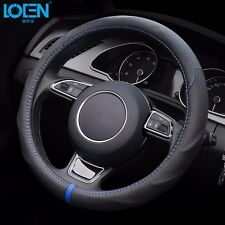 NEW Genuine Leather Car Auto Steering Wheel Cover Skin Anti-slip Blue Line 38cm