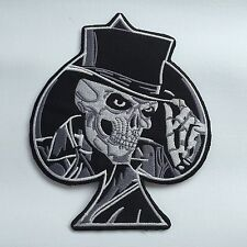 Iron On/ Sew On Embroidered Patch Badge Skull Top Hat Ace of Spades ACDC Biker