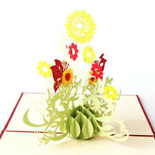 3D Pop Up Greeting Cards Sunflower Birthday Mother Day Thanks Christmas Gift