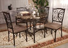 Burril Circular Brown Faux Marble Top Dining Table Set 5 Pc Chairs Dining Room