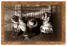 Lady In Lions Cage Classic Animal Circus Sign