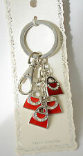 Red Purse Charm Keychain / Clip / Silver-tone / Dangling Purse Charms
