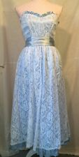 Vtg 80s Southern Belle Cinderella Baby Blue Lace Prom Dress Small XS EUC