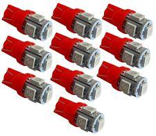 10x ampoule T10 W5W 12V 5LED SMD rouge veilleuses éclairage intérieur coffre