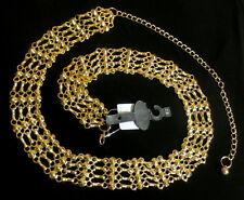GOLD METAL BIKER CHAIN BELT Pin Up Girl CIRCLES n STUDS 24 26 2x 4x PLUS SIZE 3X