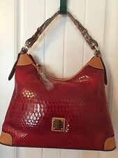 Dooney & Bourke Red Embossed Erica Snake Leather Hobo Shoulder Bag 3 Piece Set
