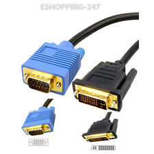1.5 m Enchapado En Oro Dvi-i A Vga Laptop Cable Hd Tv Video Monitor Lcd Ordenador A019
