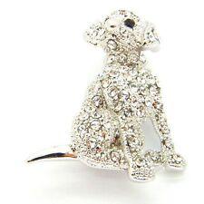 NUOVO Tono Argento Pave cristallo austriaco Cucciolo Spilla in confezione regalo