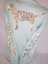 Victoria's Secret PiNK T Shirt Long Sleeve Campus Tee Sequin BLiNG XS NWT