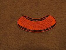 1957 CHEVROLET IMPALA BEL AIRE CORVETTE 2x4 AIR CLEANER INSTRUCTIONS DECAL NEW