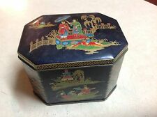 Vintage Daher Tin Asian Scene Boats Pagoda People Lid Made In England AS IS LID