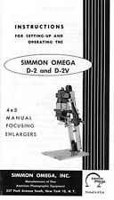 Omega D-2, D-2V Enlarger Instruction Manual