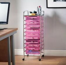 Pink Ombre Drawer Make Up Mobile Home Office Salon Storage Trolley Hair Dresser