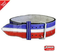 2Fit Nubuck Leather Weight Lifting Power Lifting Belt Back Support Blue+White L