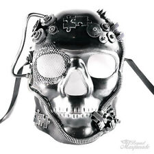 Steampunk Full Face Theater Masquerade Mask for Men - Metallic Silver
