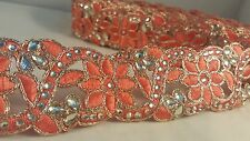 4cm Gorgeous coral beaded lace trimming for designing sewing crafting 1 meter