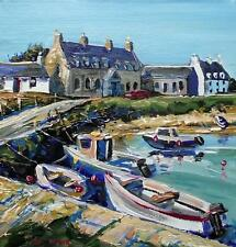 BOATS ARINAGOUR COLL :  HEBRIDEAN COLOURIST IMPASTO OIL PAINTING : JACK FRASER