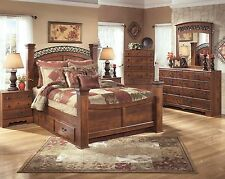 "Ashley ""Timberline"" Queen 8 Piece Poster Bed Set w/ Storage Furniture B258"