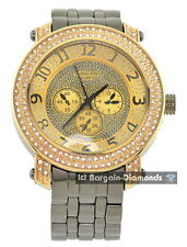 mens big gunmetal gold hip hop watch link bracelet ice out techno