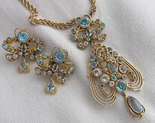WOW!! Vintage Hobe Sterling Filigree Blue Rhinestones Hearts Earrings&Necklace