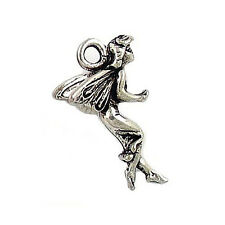 FAIRY CHARM ANTIQUED SILVER PEWTER COLOR 27MM 2 CHARMS