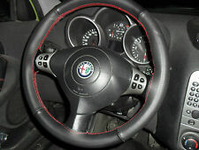 ALFA ROMEO 147 Steering wheel cover in black Leather red Stitching