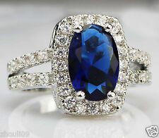 925 Silver Glod Filled Natural Sapphire Size 7 Engagement Birthstone Ring 283