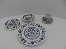Crown Clarence Blue Onion Pattern 5-Piece Place Setting Made in England - VGC