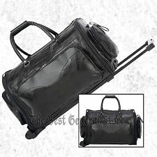 """Black Leather 21"""" Folding Trolley Tote Gym Bag Rolling Duffle with Wheels Travel"""