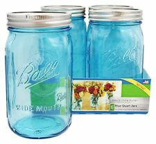 Ball - Wide Mouth 32 oz. Quart Mason Jars Elite Collection Design Series Blue -