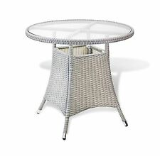 Outdoor Living Resin Wicker Patio Gray Round Dining Table w/ Glass
