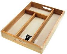 Utensilios de madera Cubiertos Cajón Organizador 4 compartimentos Bandeja Cocina ordenado