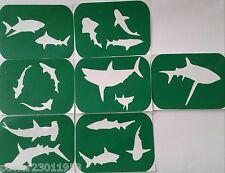 Confezione di 7 shark-1 squali ARTE Stencil glitter-airbrush Air Brush